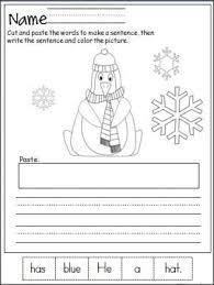 free penguin cut paste and write the sentence printable page