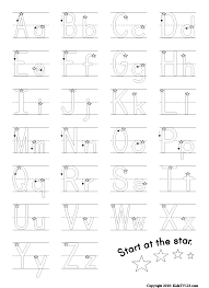 first grade writing paper printable letter tracing a z free printable worksheets worksheetfun start at the star alphabet writing practice sheet