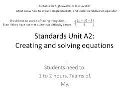 standards unit a2 creating and solving equations