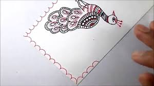 madhubani painting a nice peacock youtube