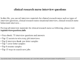 Resume For Nurses Sample by Clinical Research Nurse Interview Questions