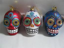 3 sugar skull ornaments glass day of the dead decorated skulls