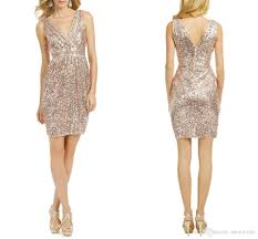 sparkly rose gold sequined short party cocktail dresses