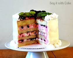 white chocolate ganache cake with fruit topping say it with cake