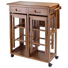 transitional space saver drop leaf kitchen island with 2 stools