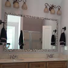mosaic tile around bathroom mirror