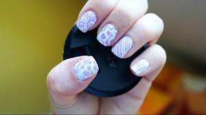nail art stamping short nails konad dupe plate m65 test with