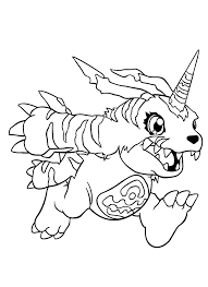 gabumon running coloring digimon coloring