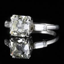 antique art deco diamond engagement ring platinum 2ct cushion cut