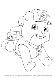 learn how to draw rubble from paw patrol paw patrol step by step