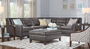 Gray Leather Sofa Leather Living Room Sets Furniture Suites