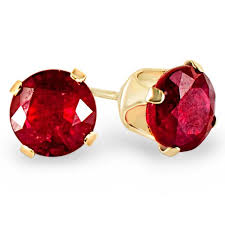 ruby stud earrings 2 3 8 ctw cut ruby solitaire stud earrings in 10k yellow