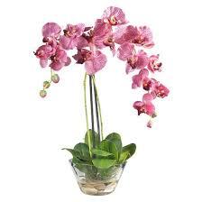 Fake Flower Centerpieces Nearly Natural Phalaenopsis W Glass Vase Silk Flower Arrangement