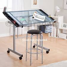 Drafting Table Images Drafting Table Drawing Table Adjustable Tilt Castors Glass Silver