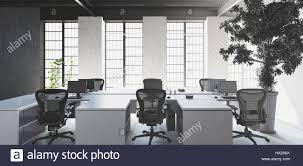 empty white desks with chairs in modern minimalist interior office