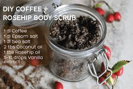 diy coffee rosehip body scrub for glowing and smooth skin