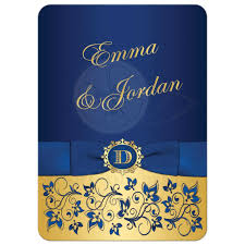 wedding invitation royal blue gold floral monogram printed