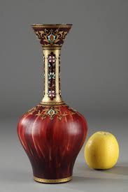 Oriental Secretary Desk by Opaline Vase With Oriental Decoration