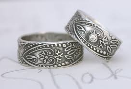 hippie wedding ring items similar to bohemian wedding band ring set with white