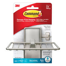Bathtub Caddy Home Depot by Command Satin Nickel Soap Dish 1 Soap Dish 2 Water Resistant