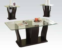 coffee and 2 end table set glass top and espresso finish u2013 kb home