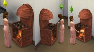 mod the sims medieval stove grill fireplace with animated fire