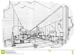 sketch interior perspective lobby lounge stock illustration