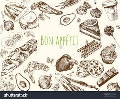 hand drawn vintage food food sketch stock vector 678114595