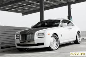 rolls royce white phantom ghost savini wheels