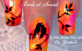 diy easy bird nails sunset love birds nail art design tutorial