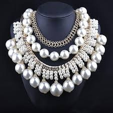 big pearl choker necklace images Newest woman large white pearl beaded necklaces luxurious palace jpg