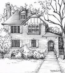 Residential Ink Home Design Drafting by Custom House Sketch Hand Drawn Home Portrait In Ink