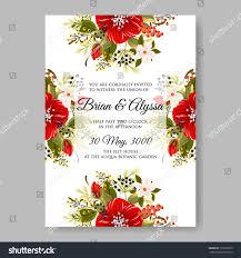 House Invitation Card Ped Poinsettia Peony Anemone Wedding Invitation Stock Vector