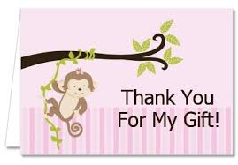 baby shower thank you cards baby shower thank you cards monkey girl thank you notes