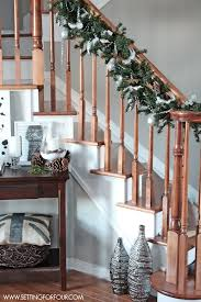 Christmas Banister Garland Ideas Christmas Home Tour Setting For Four