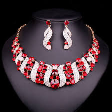 bridal choker necklace images New red crystal choker necklace earrings bridal indian jewelry jpg