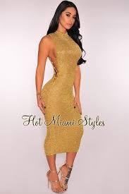 midi dress metallic knit lace up midi dress