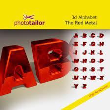 3d alphabet redmetal clipart high resolution 26 letters