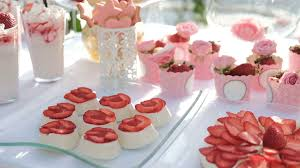 light appetizers for parties sugary appetizers and strawberries on white table outdoor light