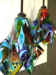 Multiple Lamp Shade Chandelier by We Created Three Very Unique And Colorful Fused Glass Pendant