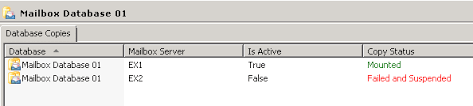 suspend and resume database copy is u201cfailed and suspended u201d shown at emc u2013 exchangeonline