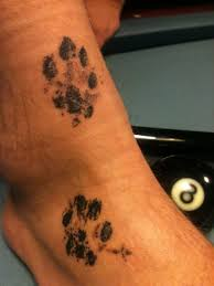 small heart foot tattoos actual paw print tattooed on
