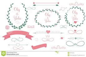 set of wedding graphic elements with arrows royalty free stock