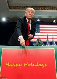 happy holidays donald merry sign your meme