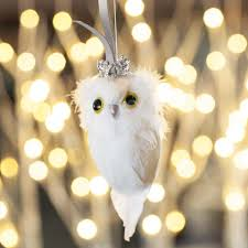 snowy feathered owl ornament all gifts olive cocoa