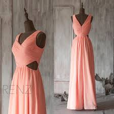 2015 coral bridesmaid dress open back peach wedding dress deep v