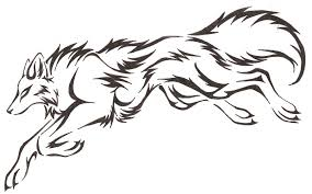 wolf tattoos with flames around them clip art library
