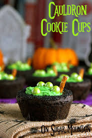 halloween cauldrons chocolate witch u0027s brew cauldron cookie cups on sugar mountain