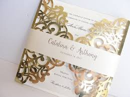 Foil Wedding Invitations Gold Foil Pink Laser Cut Wedding Invitation