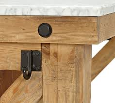 wood kitchen island table hamilton reclaimed wood marble top kitchen island pottery barn